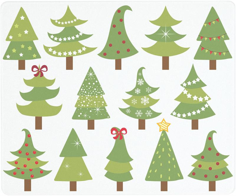 12 X 10 Festive Trees Surface Saver Tempered Glass Cutting Board