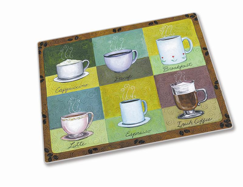 15 x 12 fresh brew surface saver tempered glass cutting board - Decorative tempered glass cutting boards ...