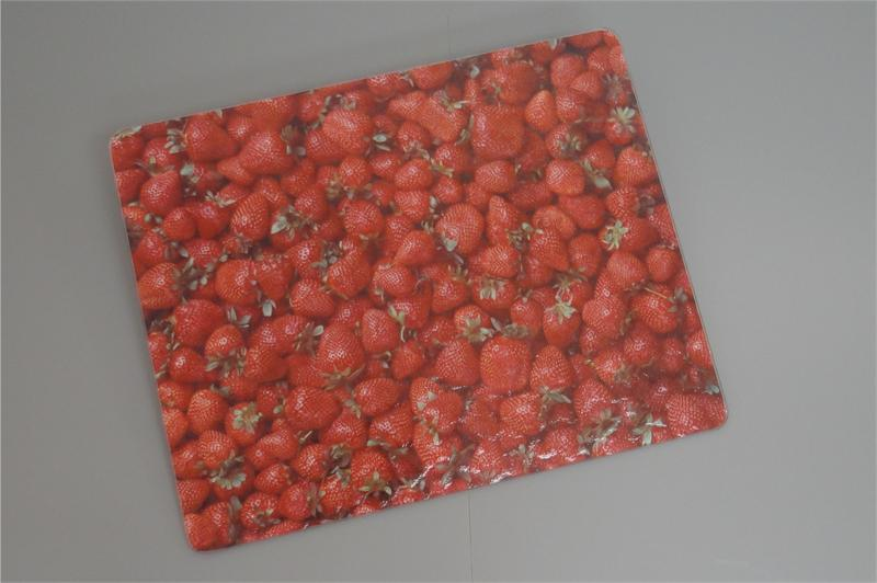 15x12 strawberries surface saver tempered glass cutting board - Decorative tempered glass cutting boards ...