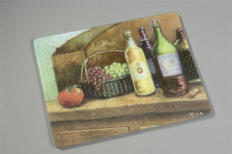 15 x 12 wine surface saver tempered glass cutting board - Decorative tempered glass cutting boards ...