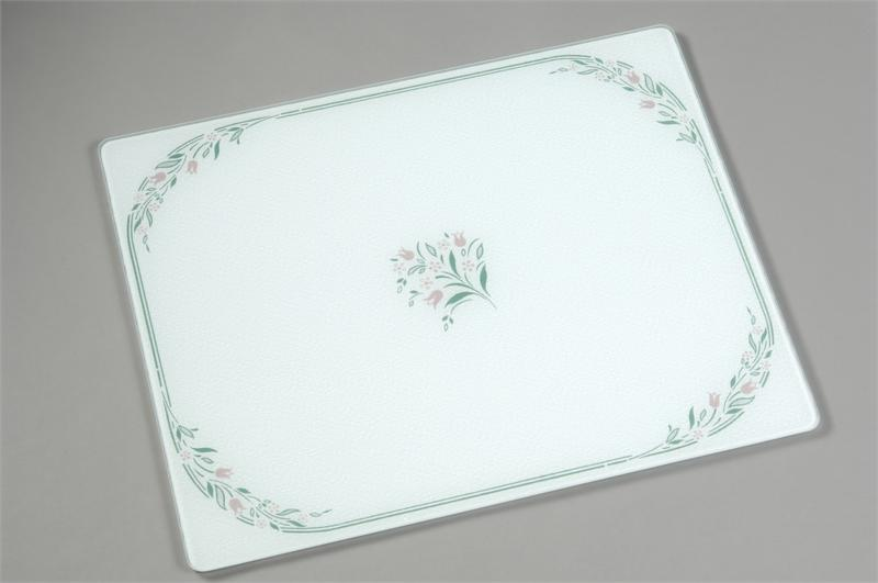15 x 12 corelle rosemarie tempered glass cutting board - Decorative tempered glass cutting boards ...