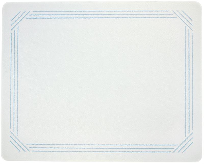 15 x 12 white with blue border surface saver tempered glass cutting board - Decorative tempered glass cutting boards ...